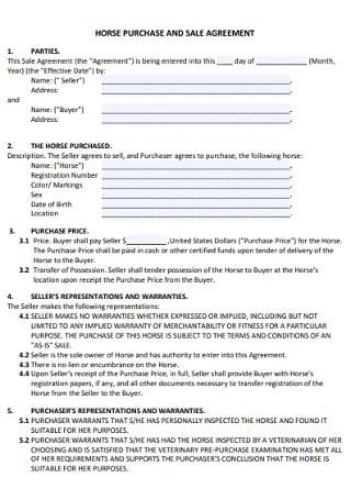Horse Sales Agreement