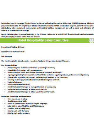 Hotel Hospitality Sales Executive Cover Letter