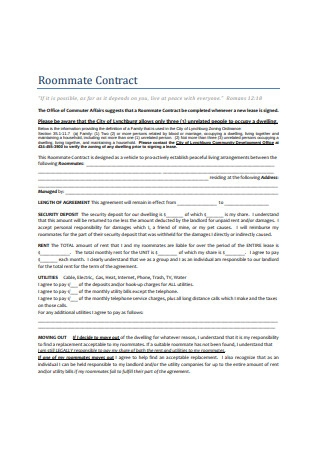 House Roommate Contract