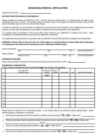 Household Rental Application