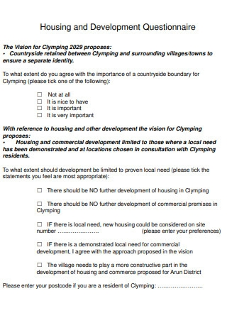 Housing and Development Questionnaire