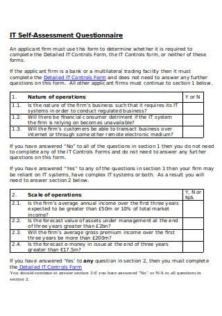 IT Self Assessment Questionnaire