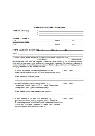 Individual Property Survey Form Sample