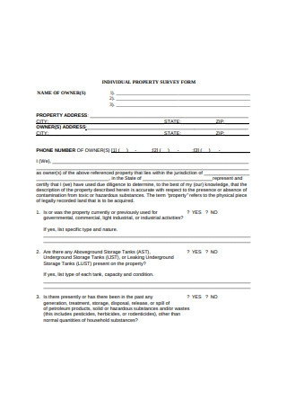 Individual Property Survey Form