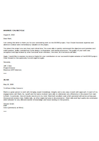 Individual Recommendation Letter