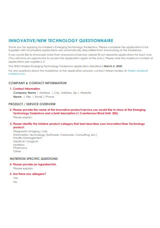 Innovative New Technology Questionnaire