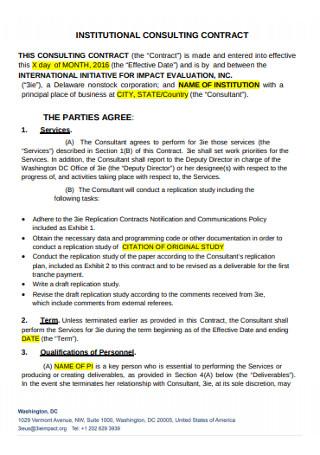 Institutional Consultuing Contract