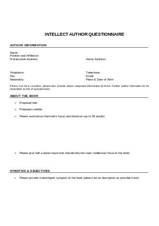 Intellect Questionnaire