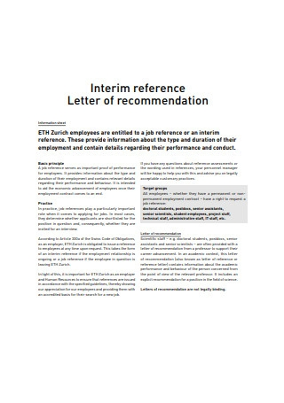 Interim Reference Letter of Recommendation