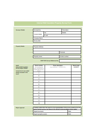 Internal Wall Insulation Property Survey Form Example