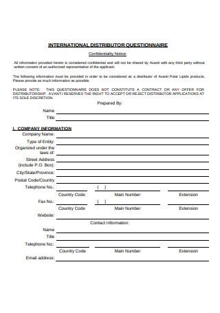 International Distributor Questionnaire