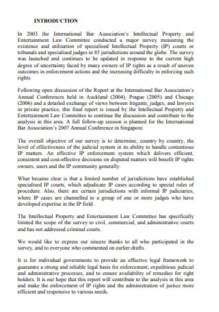 International Survey of Specialised Intellectual Property