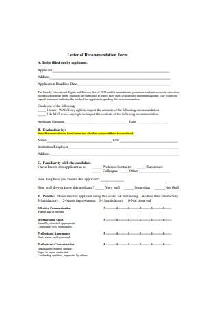 Internship Letter of Recommendation Form