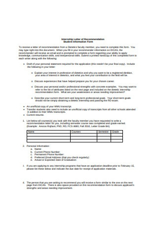 Internship Letter of Recommendation Student Information Form