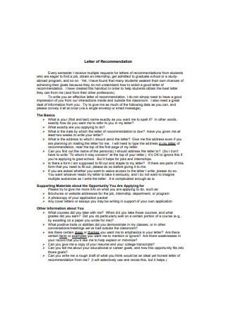 Internship Letter of Recommendation