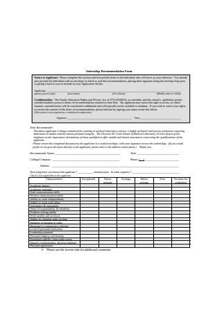 Internship Recommendation Letter Form