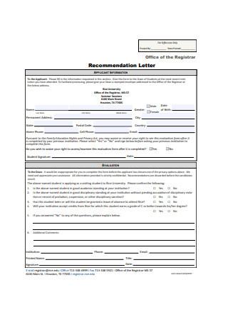 Internship Recommendation Letter Format