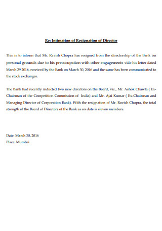 Intimation of Resignation Board Letter