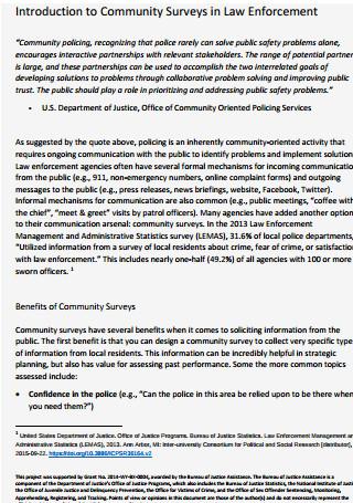 Introduction to Community Surveys in Law Enforcement
