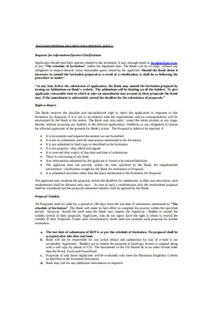 Invitation Proposal Document for Corporate Agency