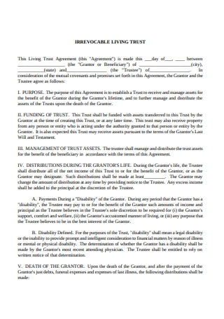 Irrevocable Living Trust and Agreement