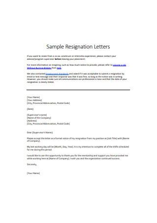 Job Internship Resignation Letter