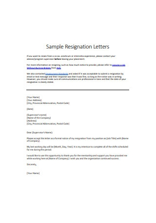 Job Internship Resignation Letter1