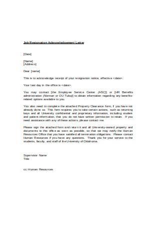 Job Resignation Acknowledgement Letter