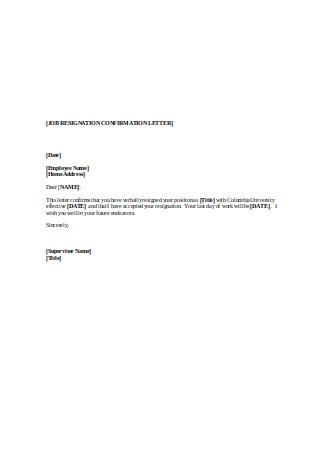 Job Resignation Confirmation Letter