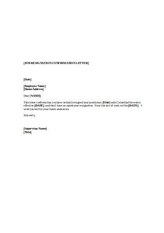 Job Resignation Confirmation Letter1