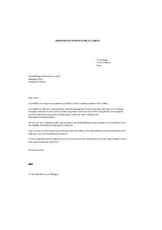 Job Resignation Letter Example