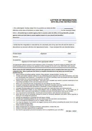Job Resignation Letter Format
