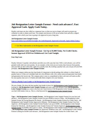 Job Resignation Letter Sample Format
