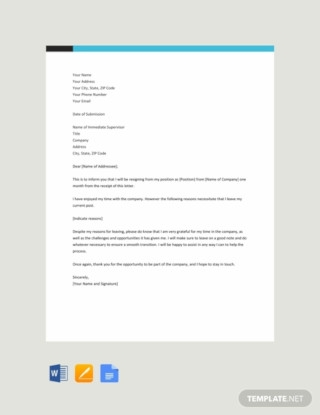 Job Resignation Letter With a Reason