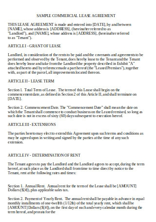 Joint Commercial Lease Agreement