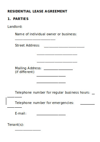 Joint Model Residential Lease