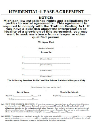 Joint Residential Lease Agreement Sample