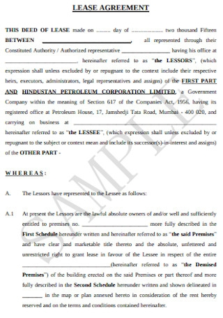 Joint Venture Lease Agreement