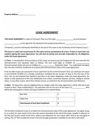 Joint or Several Lease Agreement