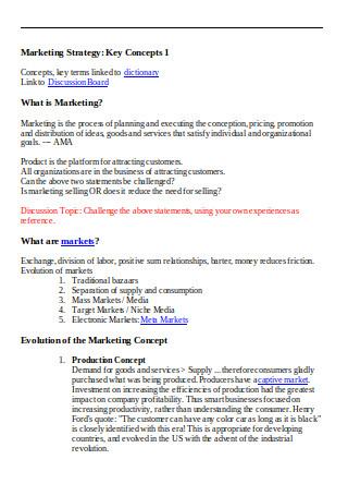 Key Concepts Marketing Strategy