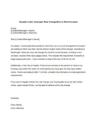 Landlord Rent Increase Letter Sample