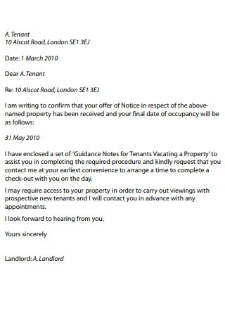 Landlords Letter Sample