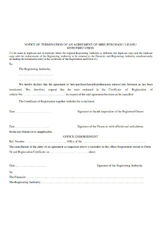 Lease Agreement Termination Letter