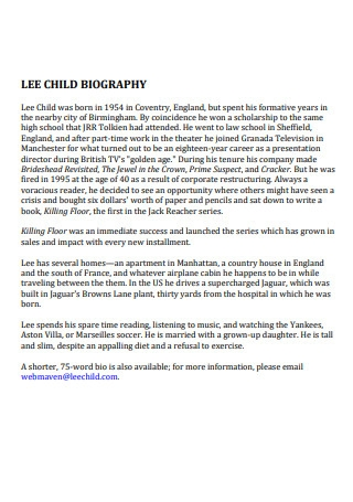 Lee Child Biography
