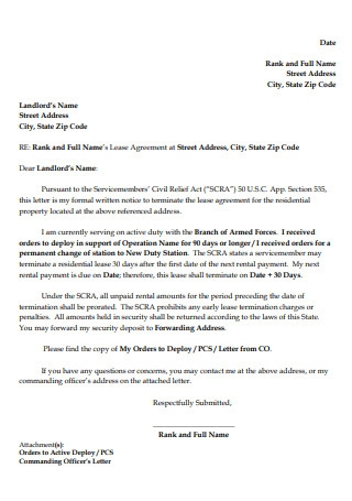 Letter for Termination Residential Lease