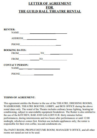 Letter of Agreement for Theatre Rental