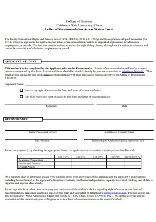 Letter of Recommendation Access Waiver Form