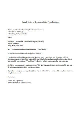 Letter of Recommendation From Employer