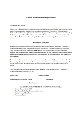 Letter of Recommendation Request Packet