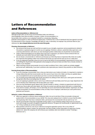Letter of Recommendation and References